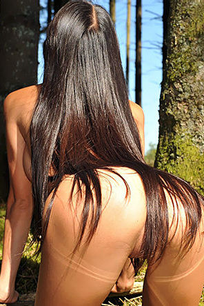 Busty Nude Asian Girl Dildoing Herself In The Forest